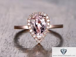 morganite pear engagement ring 6x9mm pear shape morganite engagement ring pave halo