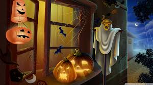 spooky house bats scary pumpkin spider web hallowmas halloween hd