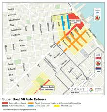 San Francisco City Map by Super Bowl 50 Street Closures Coming To Downtown U0026 Soma Sfmta