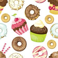 donut wrapping paper seamless background with different and desserts tiled donuts