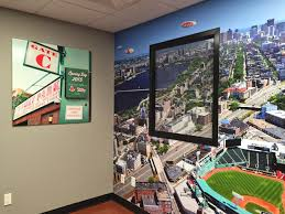 white light visual boston design week at white light step 2 cover wall in adhesive vinyl printed with a selected image to coordinate with the ode to boston sports theme already established in the space
