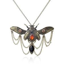 necklace with vintage images Vintage steampunk beetle pendant and necklace jpg