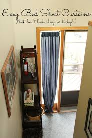 diy no sew bed sheet curtains our wood home