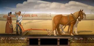 breaking the prairie sod mural by grant wood