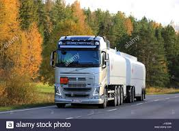 2016 volvo commercial truck salo finland october 2 2016 new volvo fh fuel tank truck on