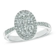 engagement rings from zales 1 ct t w composite oval frame engagement ring in 14k