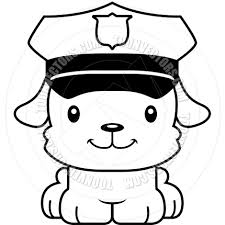 cartoon smiling police officer puppy black and white line art by