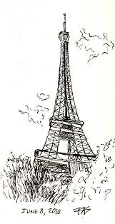 drawn eiffel tower pen and ink pencil and in color drawn eiffel