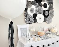 white party table decorations black white first birthday party the tomkat studio blog