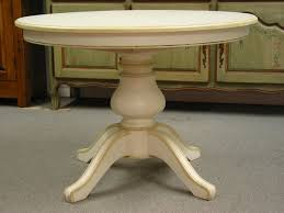 Expandable Round Pedestal Dining Table - Round pedestal dining table in antique white