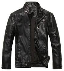 chouyatou men s vintage stand collar pu leather jacket at
