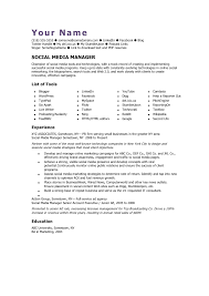 manager resume template social media manager cv template