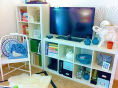 Using 2 Ikea Expedit Bookcases by Entertainment Center Makeover With White Expedit Bookshelves