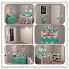 coral and aqua chevron nursery painted pallet sign painted