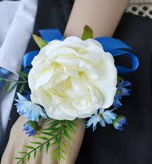 royal blue corsage 4 pieces lot brides bridesmaids wrist flower royal blue