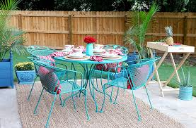 green metal outdoor table artistic turquoise outdoor furniture of excellent design patio