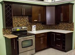 furniture cool kitchen design with white costco cabinets and cool dark costco cabinets with mosaic tile backsplash and electric stove for elegant kitchen design