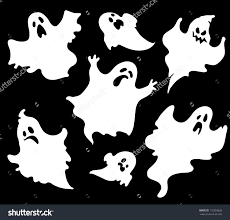 Halloween Silhouette Stock Vector Set Of Halloween Ghosts For Design Isolated On