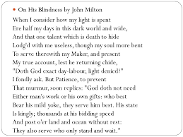 On His Blindness John Milton Meaning Poems Ppt Video Online Download