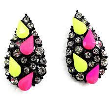 teardrop stud earrings rainbow confetti neon teardrop pave statement stud earrings