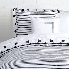Black And White Bed Sheets Signature Stripe Reversible Duvet Cover And Sham Set With Tassels