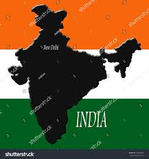 Flags That Are Orange White And Green India Dark Gray Over Background Indian Stock Illustration
