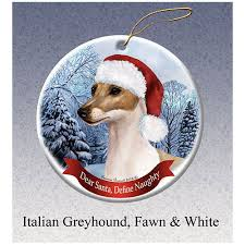 italian greyhound fawn howliday ornament italian