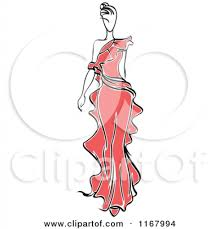 clipart of a sketched fashion model walking in a red dress 2