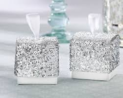 silver party favors sparkle and shine silver glitter wedding favor boxes