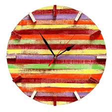 Thailand Round Flag Handmade Recycled Boat Wood Beach House Clock Thailand Free