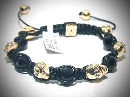 bracelet gold skull images Sb045 black beads gold skull with clear crystals shamballa jpg