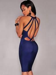 blue v neck club bandage dress open back mini strap bodycon