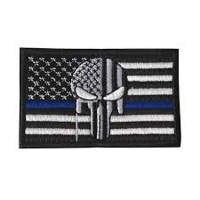 American Flag Skull Thin Blue Line Tactical American Usa Punisher Skull Flag Patch