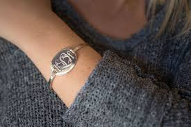 Monogram Bangle Bracelet Monogram Bangle Bracelet Silver Tone The Personal Exchange