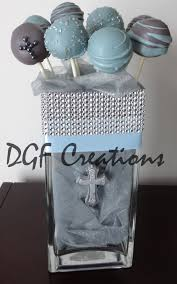 Centerpieces For Boy Baptism by Grey And Blue Grey Cake Pops Filled With Organza And Decorated