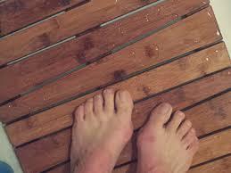 Bath Mat Wood Running With The Girls Bamboo Deluxe Shower Floor Bath Mat Review
