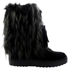 womens fur boots uk womens winter eskimo waterproof fur lined warm mid calf yeti