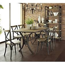Wooden Dining Table Furniture Amazon Com We Furniture Industrial Reclaimed Solid Wood Dining