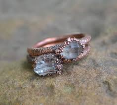 natural stone rings images Unique engagement ring herkimer diamond ring copper etsy jpg