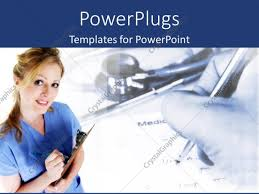 powerpoint template nurse taking medical notes with stethoscope