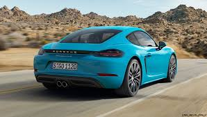 blue porsche 2017 4 2s 350hp 2017 porsche 718 caymans revealed boosted boxer fours