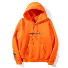 orange sweater anti social social undefeated paranoid hooded sweater