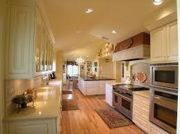 kitchen galley kitchen with large island in the corner with big