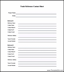 Resume Reference List Format Trade Reference Template Free Business Credit Application 188