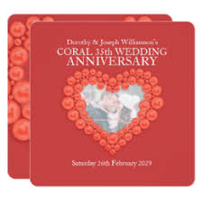 35 year wedding anniversary 35 year wedding anniversary cards invitations zazzle au