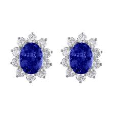 oval cut tanzanite and diamond 14kt white gold earrings