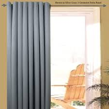 great grey fabric sliding curtain for midcentury patio door window
