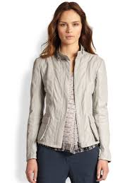 armani leather cotton flax jacket in gray lyst