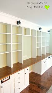Bookcases With Lights Remodelaholic Build A Wall To Wall Built In Desk And Bookcase