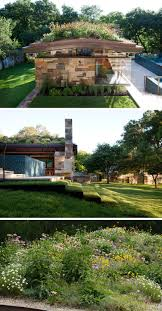 this poolhouse in is covered with a lush green roof